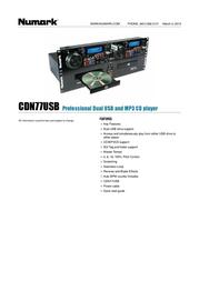 Numark DJ Twin CD Player CDN77 CDN77 Data Sheet