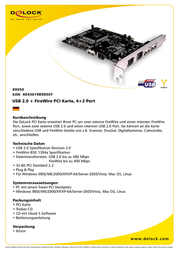 DeLOCK USB2.0 + FireWire PCI Card, 4+2 Port 89050 Leaflet