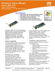 Madge Single Smart MK4 PCI with 1 Wake-on-LAN connector 51-05 Product Datasheet