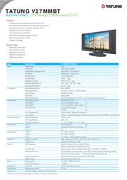 """Tatung 27"""" Widescreen LCD TV Black V27MMBT Leaflet"""