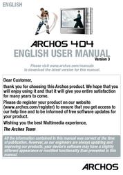 Archos Multimedia Player 404 500850 User Manual