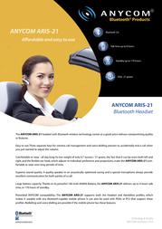 Anycom ARIS-21 Bluetooth (EU) CC3101-41 Leaflet