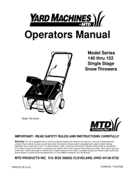Yard Machines 152 User Manual
