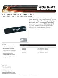 Patriot Memory 8GB USB PSF8GUSB Leaflet