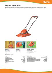 Flymo Turbo LITE 330 5011759012232 Leaflet