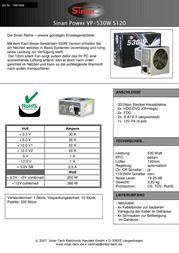 SinanPower VP-530 530W 1691699 Leaflet