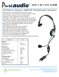 Andrea Electronics NC-181 P-C1-1022300-50 Leaflet