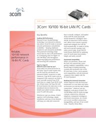 3com Megahertz® 10/100 LAN PC Card 3CCFE574BT-020 Data Sheet