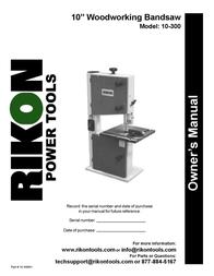 "KUHN RIKON Kuhn Rikon Corp. Saw 10"" WOODWORKING BANDSAW User Manual"