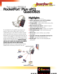 Comtrol 99020-8  RocketPort Plus Universal Quadcable 4-Port DB-25 99020-8 Leaflet