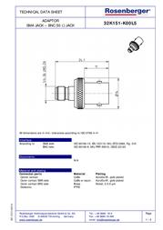 Rosenberger SMA adapter SMA socket - BNC socket 32K151-K00L5 1 pc(s) 102638 Data Sheet