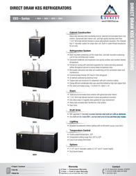 Everest Scratch and Dent - EBD1 Direct Draw Commercial Keg Refrigerator - One 1-Faucet Tower Product Datasheet