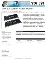 Patriot Memory DDR2 2GB (2 x 1GB) PC2-8500 Enhanced Latency DIMM Kit PVS22G8500ELK Leaflet