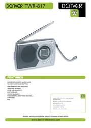 Denver Portable World Receiver TWR-817 TWR817 Leaflet