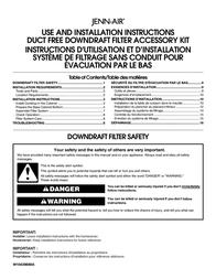 Jenn-Air DUCT FREE DOWNDRAFT FILTER ACCESSORY KIT W10439669A User Manual