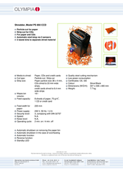 Olympia PS 850 CCD PS850CCD Leaflet