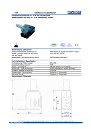 Kaiser IEC connector C14 Plug, right angle Total number of pins: 2 + PE 10 A Black 747/SW/C 1 pc(s) 747/sw/C Data Sheet