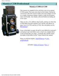 Mamiya C330S User Manual