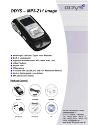 ODYS MP3-Player MP3-Z11 Image 256MB X700111 Leaflet