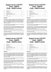B-Tech LCD TV flat wall mount bracket BT7510/B Leaflet