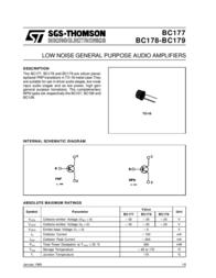 Kerafol N/A BC 177 B PNP Case type TO 18 I(C) 0.2 A Emi BC177B Data Sheet