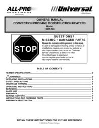 Universal ALL-PRO 100R-NG User Manual