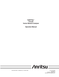 Anritsu Lightning Vector Network Analyzer 37xxxE User Manual