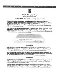 Parasound D/AC-800 User Manual
