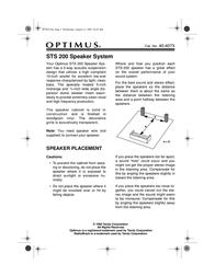 Optimus STS 200 User Manual