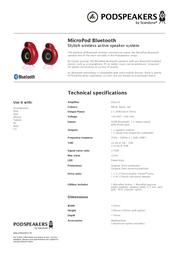 Podspeakers MicroPod Bluetooth 13301 Leaflet
