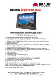 Braun Photo Technik DigiFrame 2050 21158 Leaflet