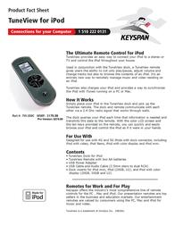 Keyspan TuneView for iPod TVI-200C Leaflet