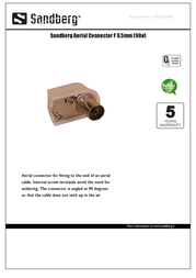 Sandberg Aerial Connector F 9.5mm (90ø) 504-49 Leaflet