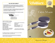 VillaWare Crpe Maker User Manual