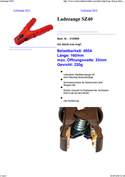 Set ® 2105905 SZ40 480 A Charging Clip Screw connection for cable lugs via M6 eyelet 480 A Red 2105905 Data Sheet