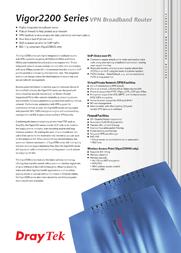 Draytek Vigor 2200VG V2200VG Leaflet