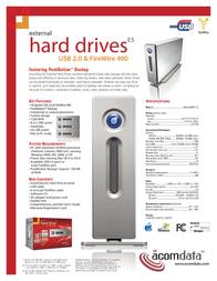 Acomdata E5 External Hard Drive HD320UFAPE5-72 Leaflet