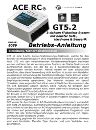Thunder Tiger GT5.2 3-ACHSEN FLYBARLESS SYSTEM 8089 Data Sheet
