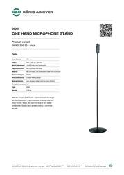 Koenig Meyer K + M One-Microphone Stand 26085-300-55 Data Sheet
