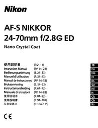 Nikon AF-S NIKKOR 24-70mm f/2.8G ED Owner's Manual