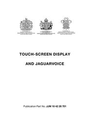Jaguar Touch Screen Display JJM 18 42 26 701 User Manual