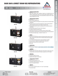 Everest Back Bar & Direct Draw Commercial Keg Refrigerator with Solid & Glass Doors Product Datasheet
