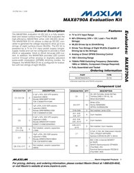 Maxim Integrated MAX8790A Evaluation Kit MAX8790AEVKIT+ MAX8790AEVKIT+ Data Sheet