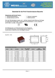 Weiss Elektrotechnik 85/425 - PCB Mount Transformer 50VA 24V 2.08A 85/425 Data Sheet
