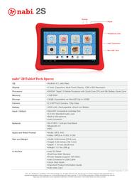Nabi SN02-NV07A-WH Specification Sheet