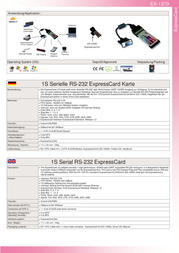 Actebis Exsys EX-1370 ExpressCard with 1S Serial RS-232 ports 15.06.1150 Leaflet