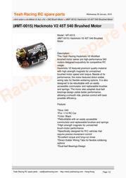 YeahRacing MT-0015 Leaflet