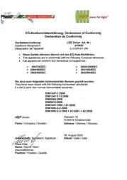 Slv LED driverLED adapter, 20 W, 24 V 470542 470542 Declaration Of Conformity