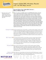 Netgear MR814GE Router 4xF+ENet TCP-IP DSL Wless MR814FS Leaflet
