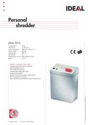 Ideal Personal shredder IDEAL 2210 22104111 Leaflet